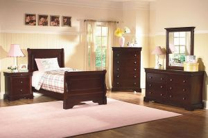 New Classic Versaille Sleigh 6 Piece Set (Headboard, Footboard, Rails, Dresser, Mirror, and Nightstand)