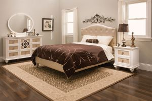 Najarian Paris Upholstered Twin 6 Piece Set (Headboard, Footboard, Rails, Dresser, Mirror, and Nightstand)