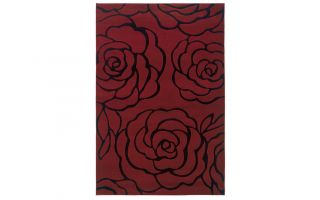 Powell Linon Milan Garnet and Black Rectangle 5' x 8' Area Rug