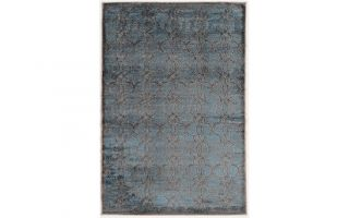 Powell Linon Platinum Iron Gate Blue Cream 5' x 8' Area Rug