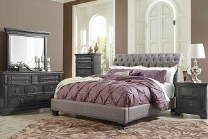 Standard Garrison Upholstered 6 Piece Set (Headboard, Footboard, Rails, Dresser, Mirror, and Nightstand)