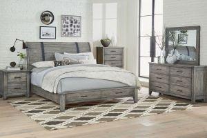 Standard Nelson Grey 6 Piece Set (Headboard, Footboard, Rails, Dresser, Mirror, and Nightstand)