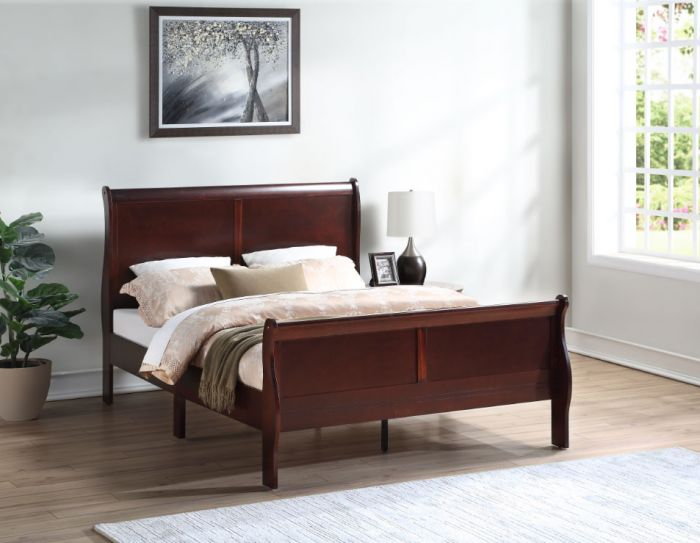 c471e58955 Crown Mark Louis Philip Cherry Sleigh Bed with Headboard, Footboard, and  Rails